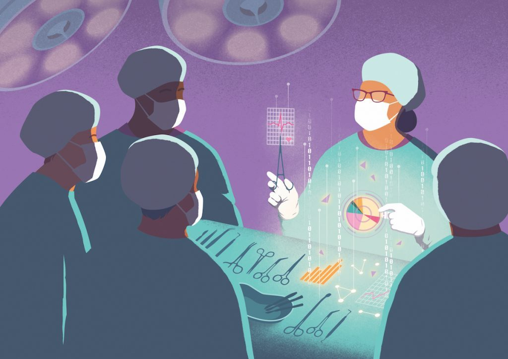 An artist's drawing of the OR shows five surgeons standing by a table of tools.