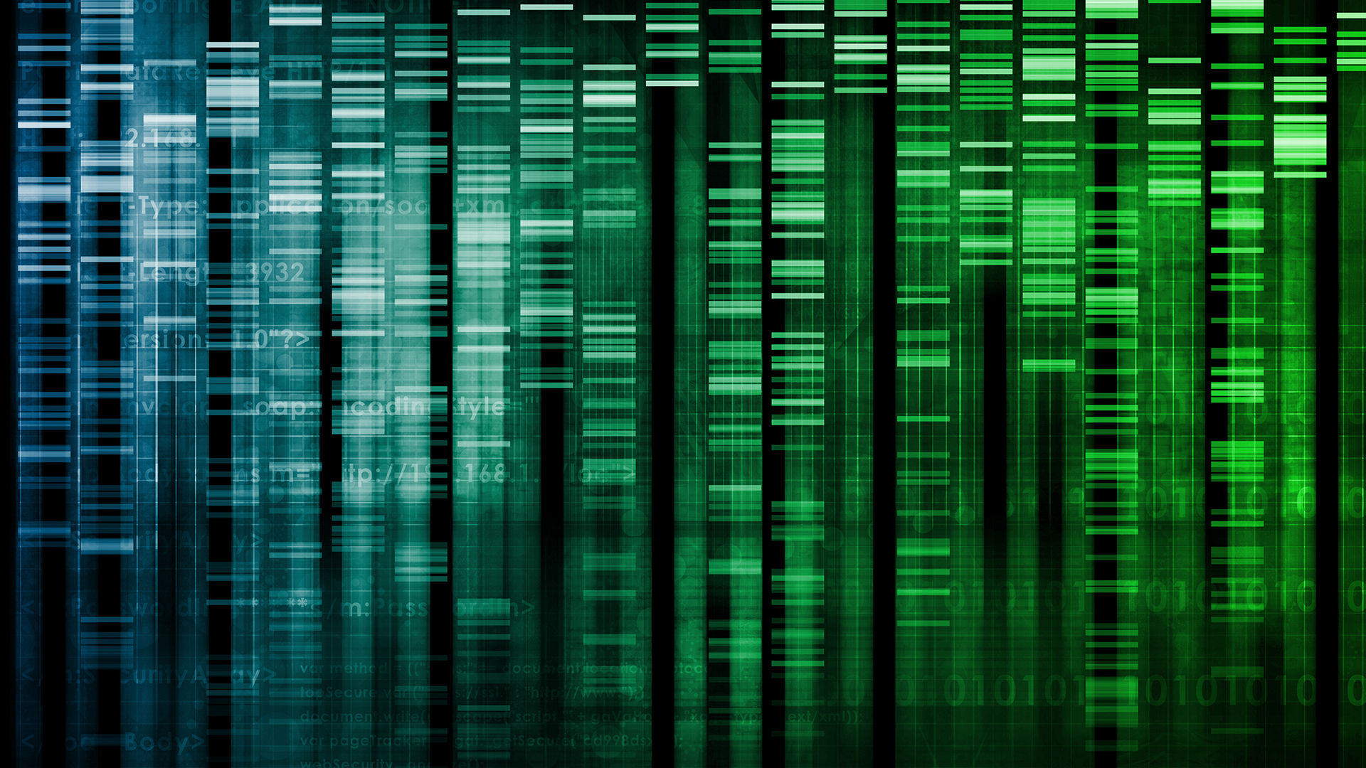 Short blue and green bars represent genome sequencing.