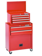 A large red toolbox is on a white background.