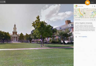 The photo shows a Google Maps view of the Homewood campus.