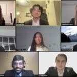 A group of eight student photos appear in a Zoom meeting.