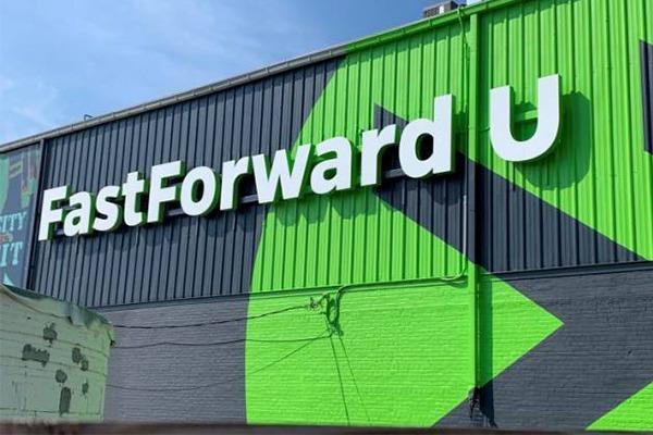 Exterior view of the FastForward U sign.