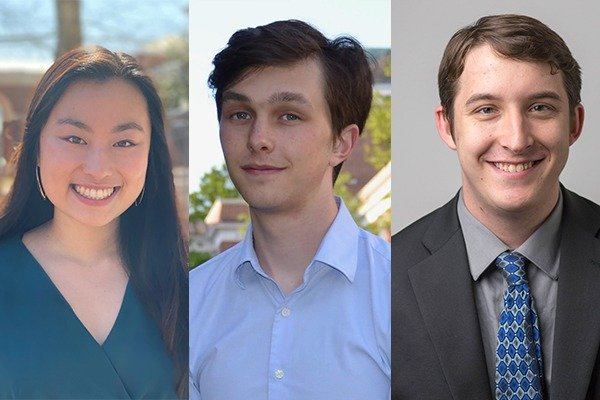 Three student headshots are in a line.