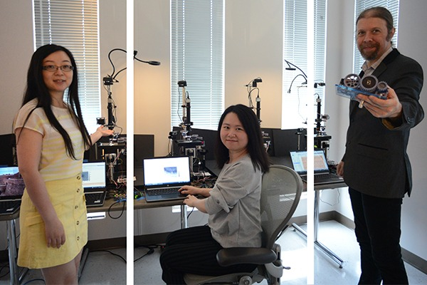A composite photo shows three people in a digital imaging lab.